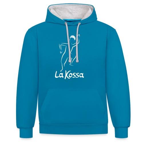 La Kossa - Unser Herz tanzt bunt - Logo weiß - Kontrast-Hoodie