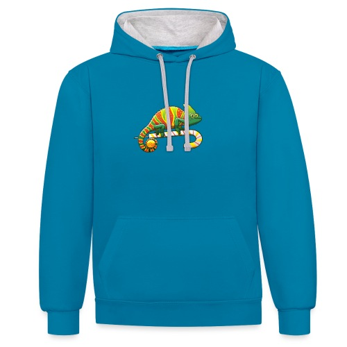 Christmas Chameleon on a Candy Cane - Contrast Colour Hoodie