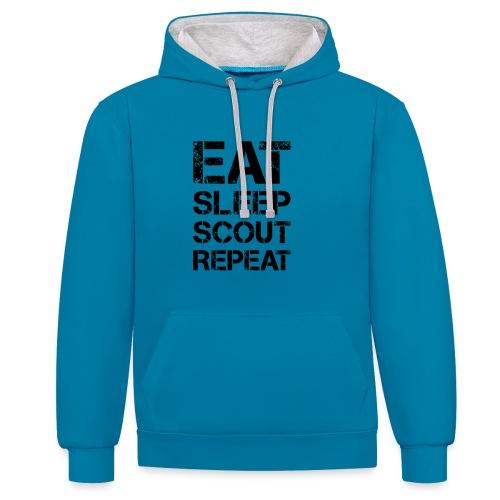 EAT SLEEP SCOUT REPEAT Kreide - Farbe frei wählbar - Kontrast-Hoodie