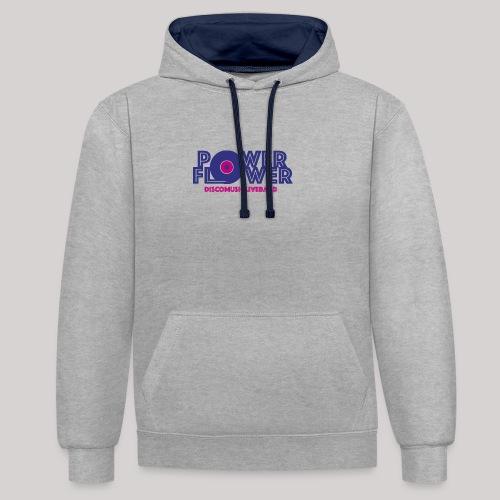 Logo PowerFlower colori - Felpa con cappuccio bicromatica