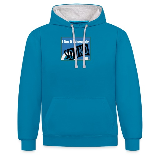 woman in sound - blue - Contrast Colour Hoodie