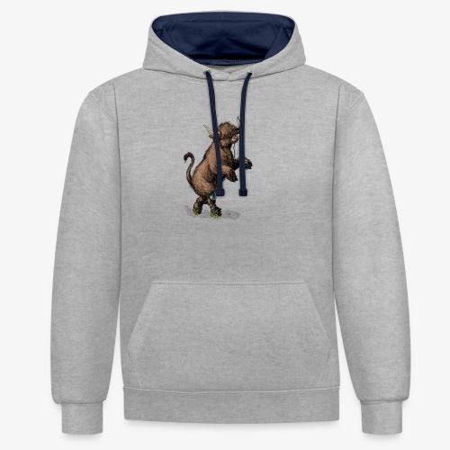 Highland Cow on roller skates - Contrast Colour Hoodie