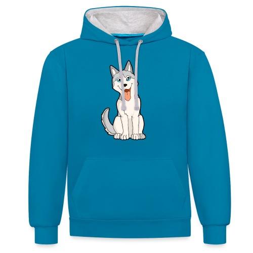 Husky grigio occhi azzurri - Felpa con cappuccio bicromatica