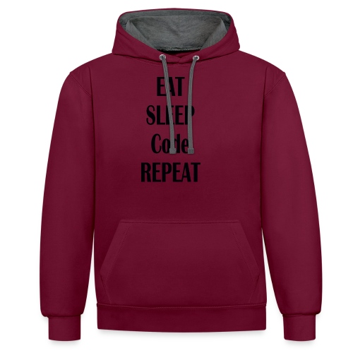 EAT SLEEP CODE REPEAT - Kontrast-Hoodie