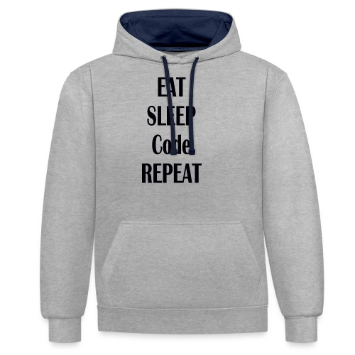 EAT SLEEP CODE REPEAT - Kontrast-Hoodie