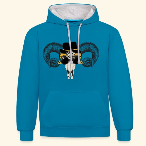 Bull Skull With Goggles And Hat Design - Contrast Colour Hoodie