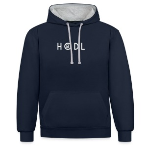 Hodle Bitcoins - White Design - Contrast Colour Hoodie