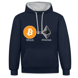 Bitcoin vs ethereum withe ok - Contrast Colour Hoodie