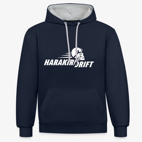 Harakiri Drift Logo Weiss - Kontrast-Hoodie