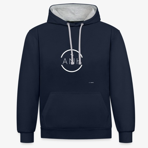 ANH white logo - Contrast Colour Hoodie