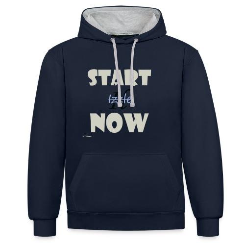 Start Now - Kontrast-Hoodie