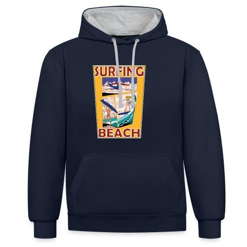 Surfing beach comic Urlaub t-shirt - Kontrast-Hoodie