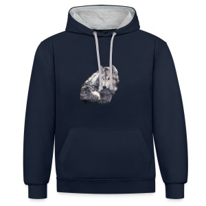 wolf and forest - Sudadera con capucha en contraste