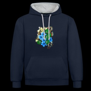 abstract flowers - Contrast Colour Hoodie