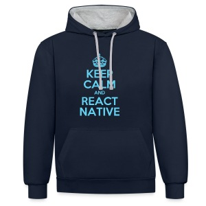 KEEP CALM AND REACT NATIVE SHIRT - Kontrast-Hoodie