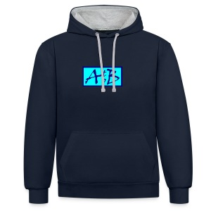 AtoB Logo light blue - Contrast Colour Hoodie