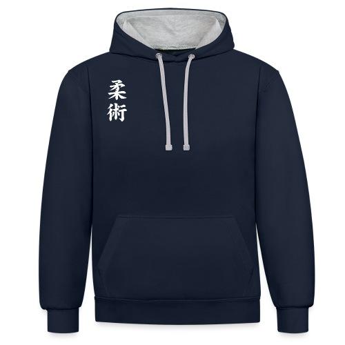 jiu-jitsu på japansk og logo i hvid - Kontrast-hættetrøje