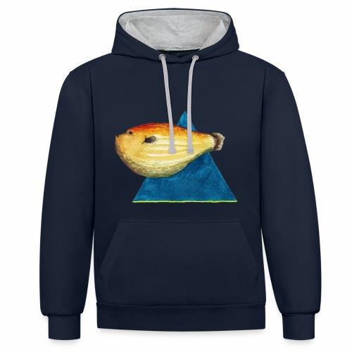 Grumpy fish - Sudadera con capucha en contraste