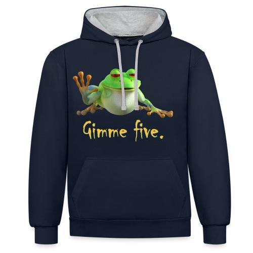 Gimme five - Kontrast-Hoodie