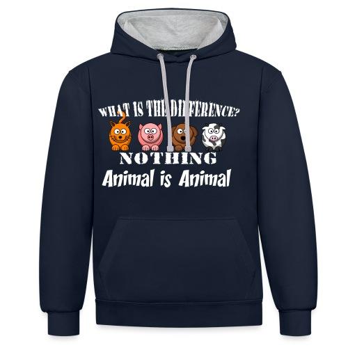Was ist der Unterschied? Tier ist Tier - Kontrast-Hoodie