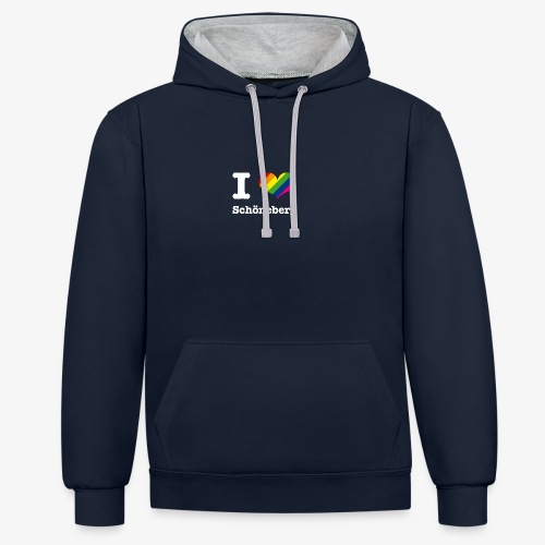 I love Schöneberg Rainbow - Kontrast-Hoodie