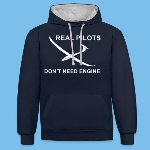 Pilot Segelflieger gleiten Segelflugzeug Geschenk - Kontrast-Hoodie