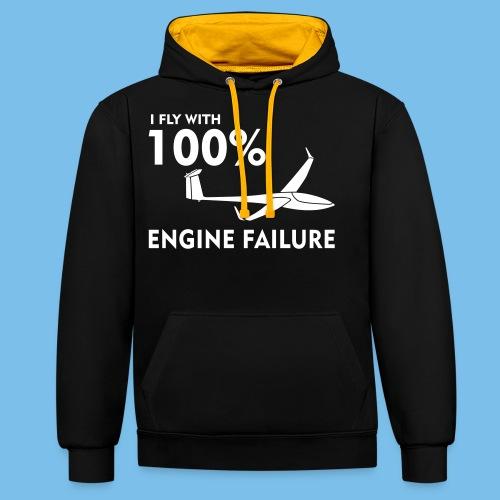 Motor Segelflugzeug lustig gleiten Segelflieger - Kontrast-Hoodie