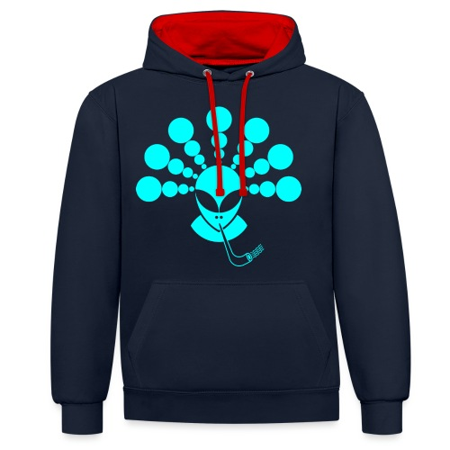 The Smoking Alien Light Blue - Contrast Colour Hoodie
