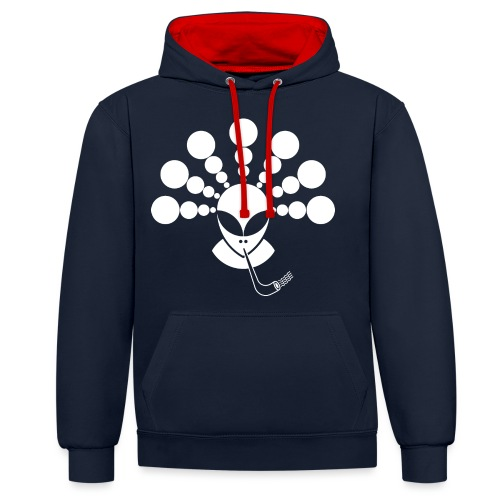 The Smoking Alien White - Contrast Colour Hoodie