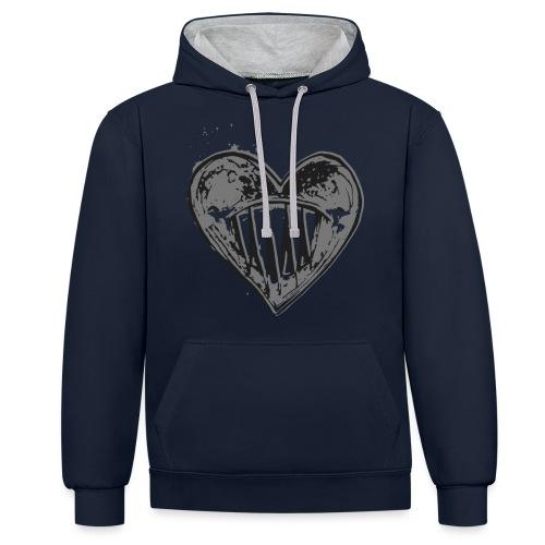 Corazón Negro - Sudadera con capucha en contraste