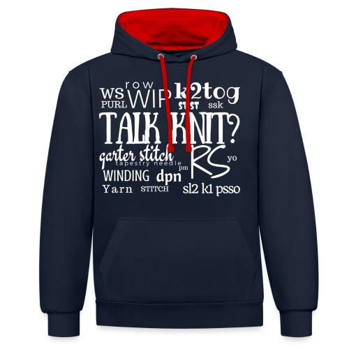 Talk Knit ?, white - Contrast Colour Hoodie