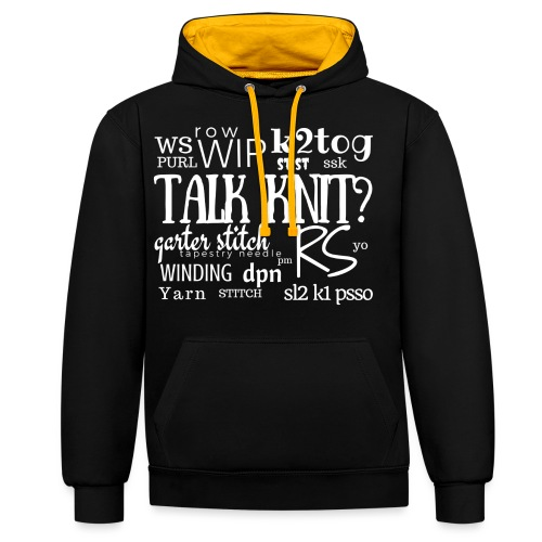 Talk Knit ?, white - Contrast Colour Hoodie