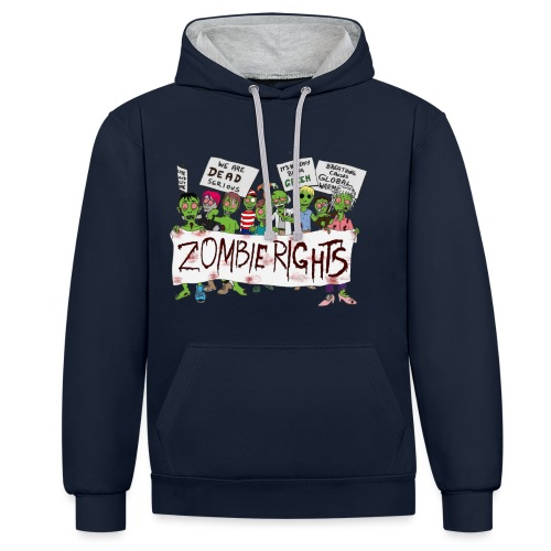 Zombie Rights Demo - Contrast Colour Hoodie