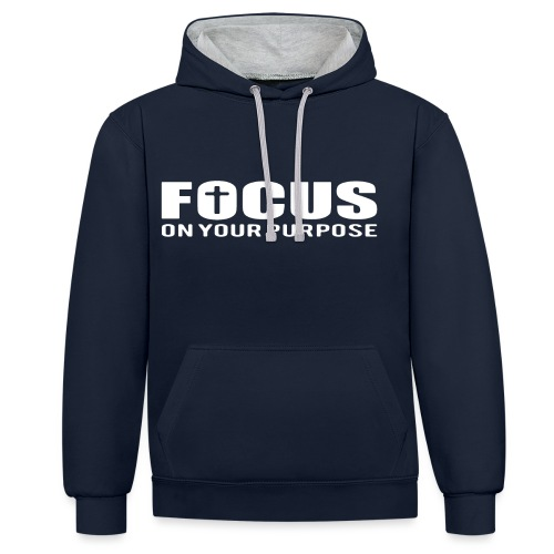 Sany O. Jesus T Shirt Focus On Your Purpose Cross - Kontrast-Hoodie