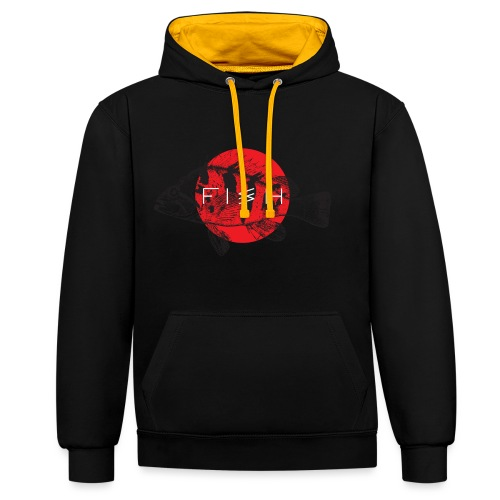 fish - Contrast Colour Hoodie