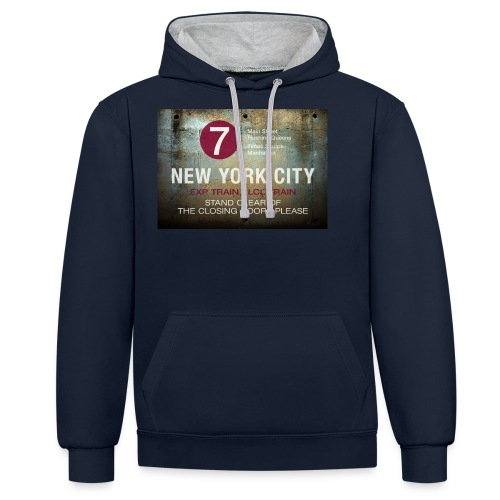 NYC subway stand clear of the closing doors please - Contrast Colour Hoodie
