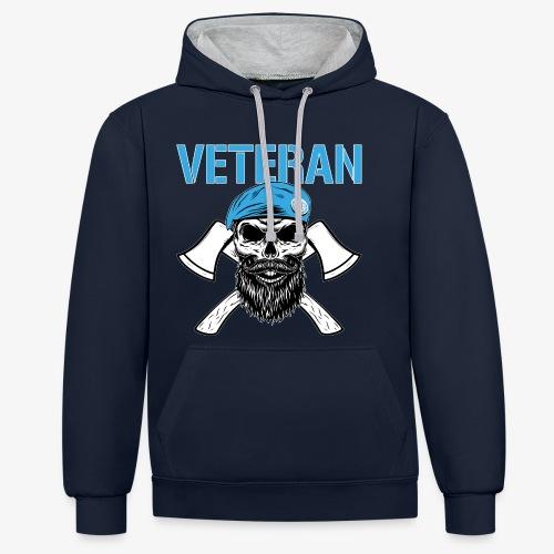 Veteran - Dödskalle med blå basker och yxor - Kontrastluvtröja