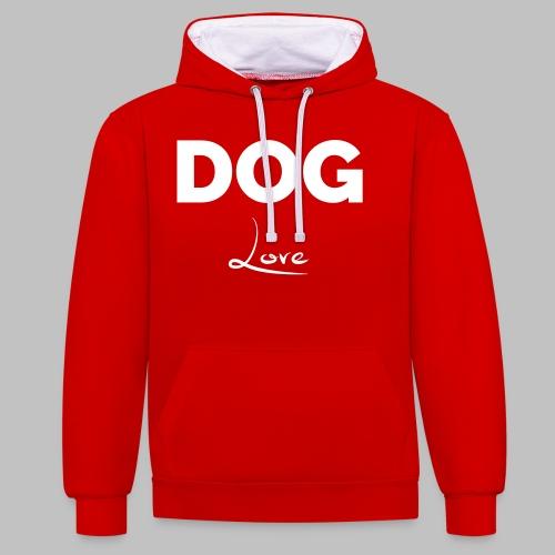 DOG LOVE - Geschenkidee für Hundebesitzer - Kontrast-Hoodie