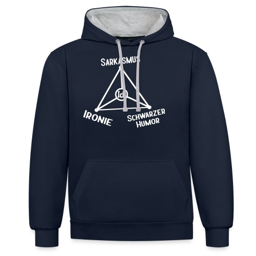 Ironie Sarkasmus Schwarzer Humor Nerd Dreieck - Kontrast-Hoodie