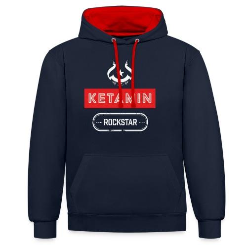 KETAMIN Rock Star - White/Red - Modern - Contrast Colour Hoodie