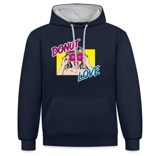 Popart - Donut Love - Zunge - Süßigkeit - Kontrast-Hoodie