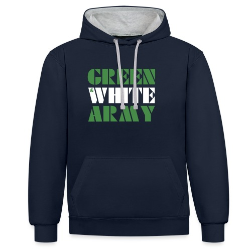 GREEN & WHITE ARMY - Contrast Colour Hoodie