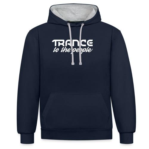 Trance to the People Hvidt Logo - Kontrast-hættetrøje