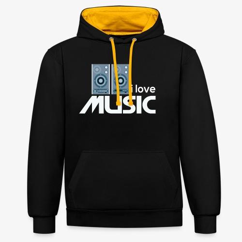 Amo la música 02 - Sudadera con capucha en contraste