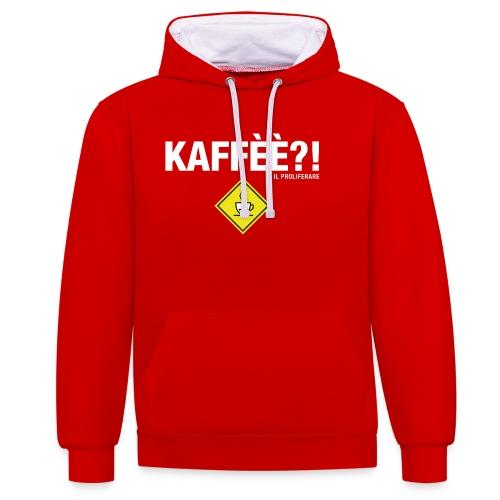 KAFFÈÈ?! by Il Proliferare - Felpa con cappuccio bicromatica
