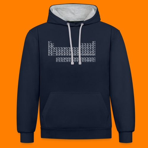 periodic white - Contrast Colour Hoodie