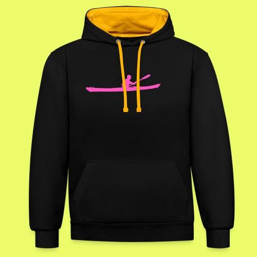Kayak_Silhouette_pink - Kontrast-Hoodie