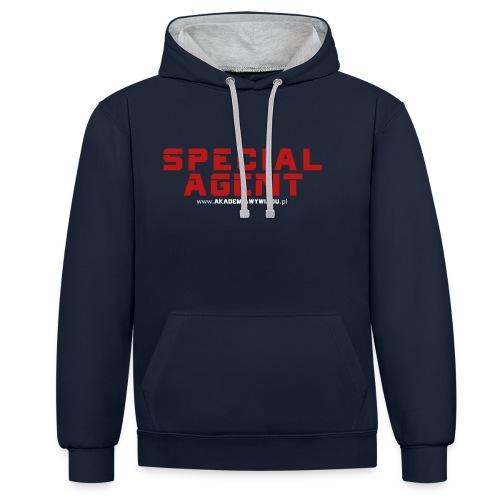 Emblemat Special Agent marki Akademia Wywiadu™ - Bluza z kapturem z kontrastowymi elementami