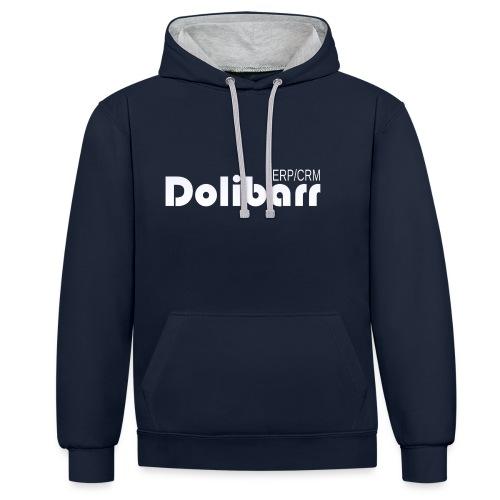 Dolibarr logo blanco - Sudadera con capucha en contraste