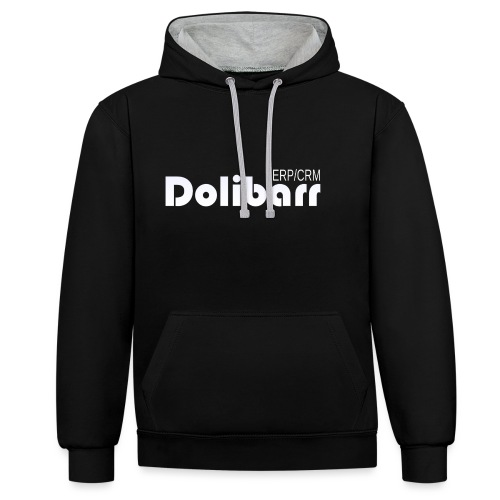 Dolibarr logo white - Contrast Colour Hoodie